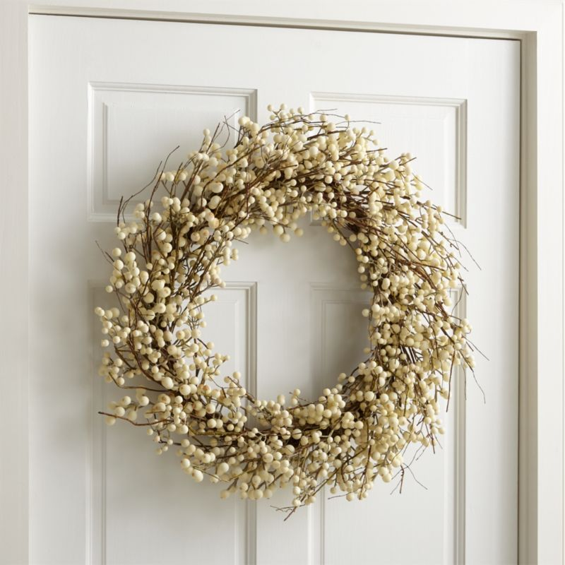 White Ilex Berry Wreath Reviews Crate And Barrel