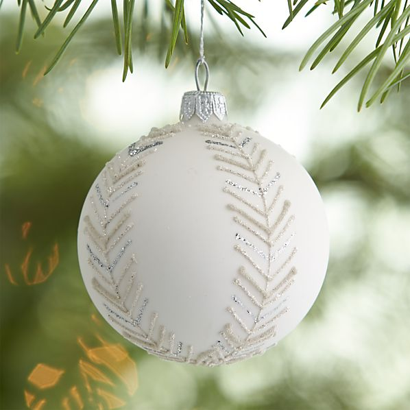 Winter White Feather Ball Ornament
