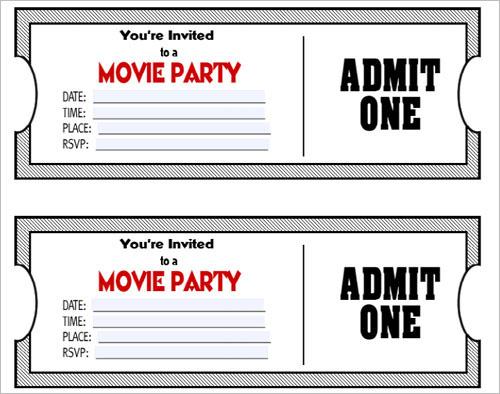 36 printable movie ticket templates
