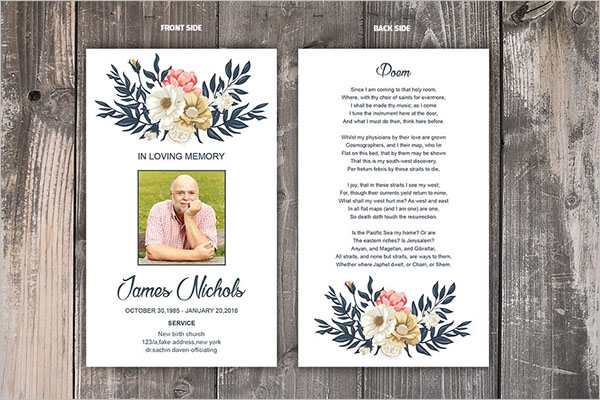 12 Printable Funeral Card Templates Free Word Pdf Psd