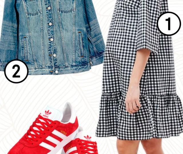 Maternity Clothing Guide Spring Gingham Dress Denim Jacket