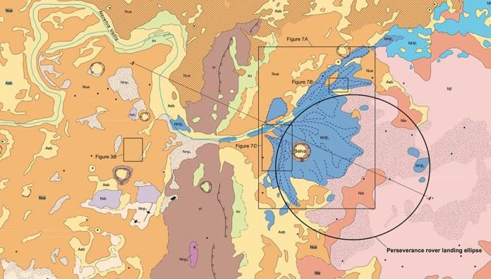 Geologic Map of NASA Perseverance Rover Landing Site