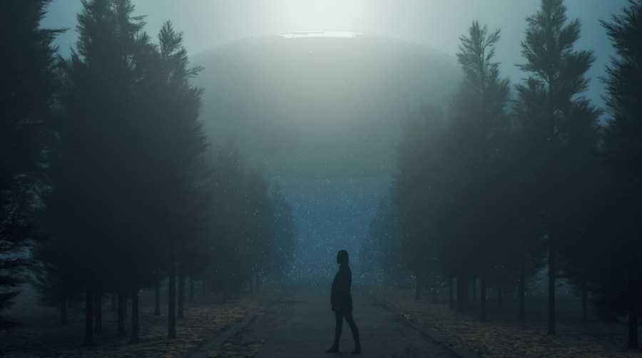 Woman walks across the road with a UFO in the background