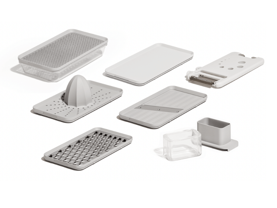 8 BPA Free prepping tools are nestled in a special drawer in the unit. Prepdeck Includes a grater, zester, slicer, juicer, garlic crusher, peeler, julienne peeler, green stripper and a bottle opener.
