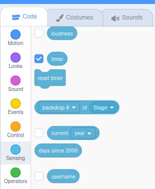 el bloque de código del temporizador Scratch incorporado