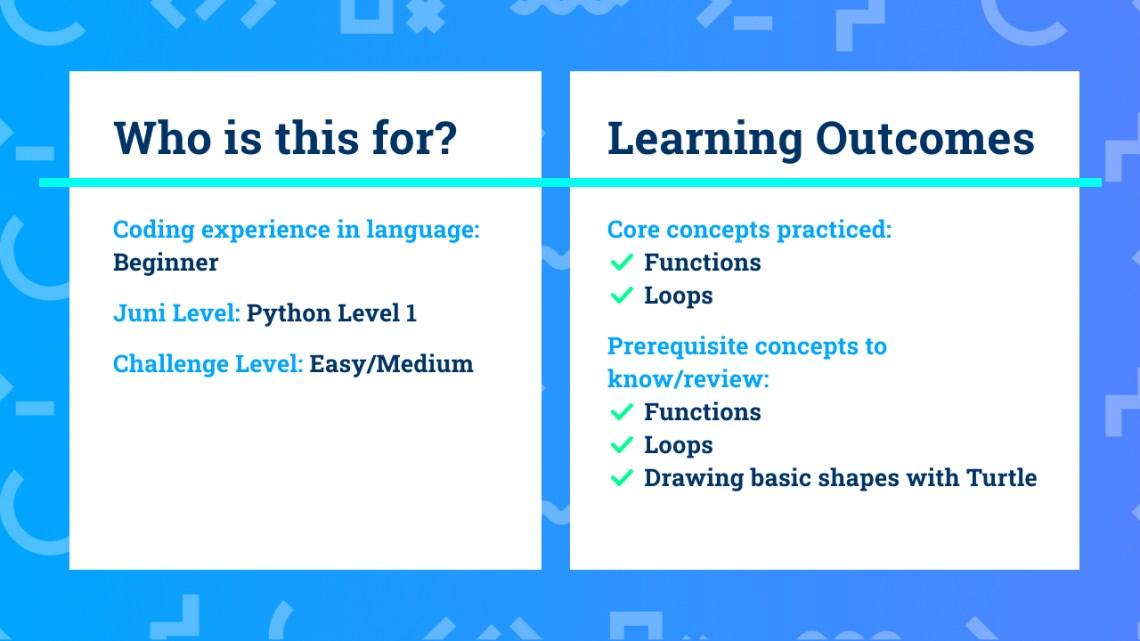 Los resultados del aprendizaje para principiantes Python con el proyecto de codificación Turtle Zoom Bloom.