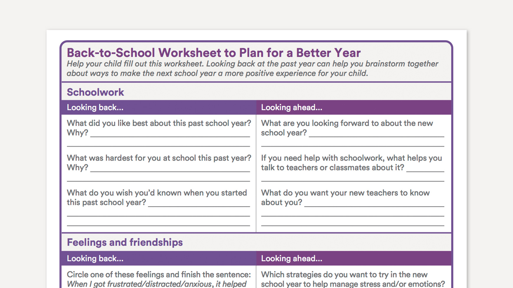 Back To School Worksheet To Plan For A Better Year