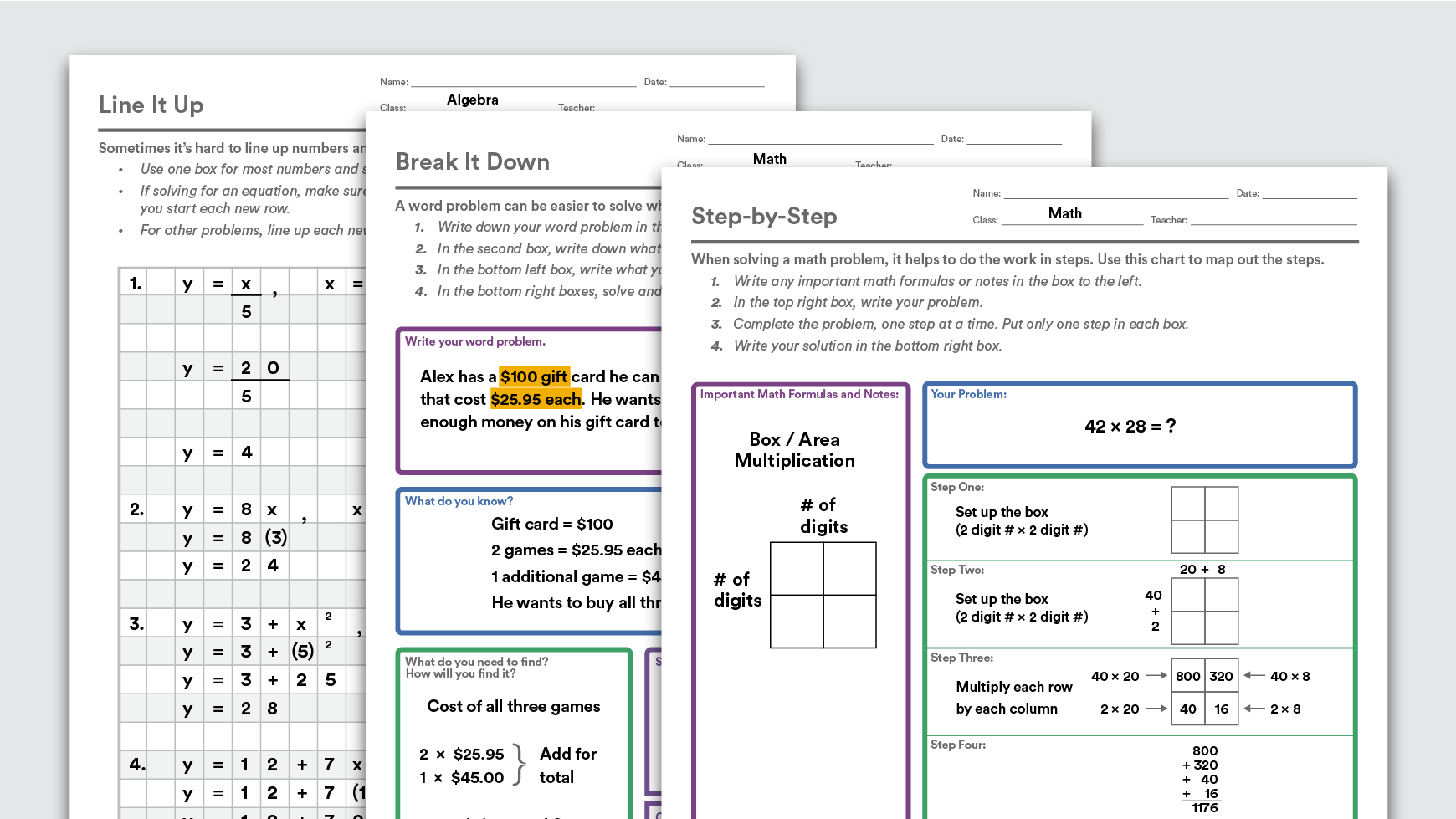 Printable Math Graphic Organizers