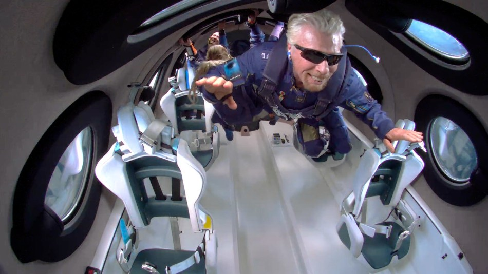 Richard Branson experiencing weightlessness during the Virgin Galactic Unity 22 spaceflight