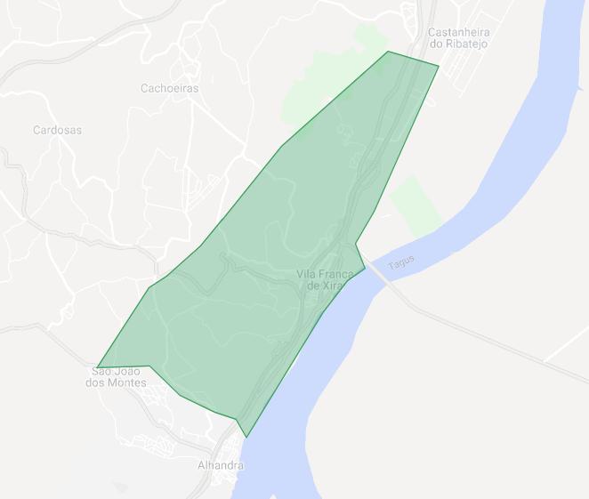 Mapa da área da cobertura atual de Vila Franca de Xira.