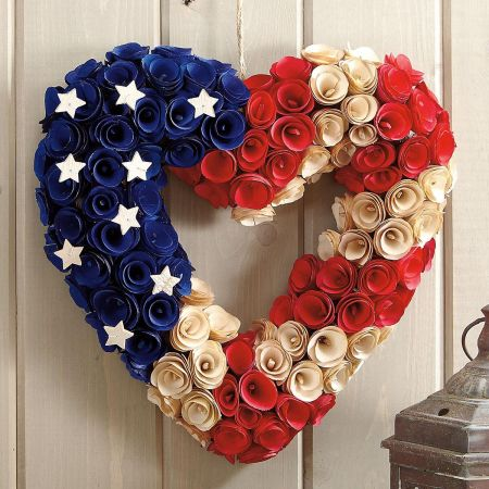 Wooden Patriotic Heart Wreath Current Catalog