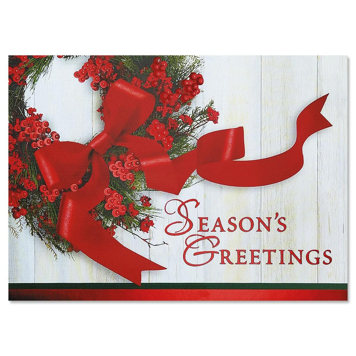 Wreath Ribbon Deluxe Foil Christmas Cards Current Catalog