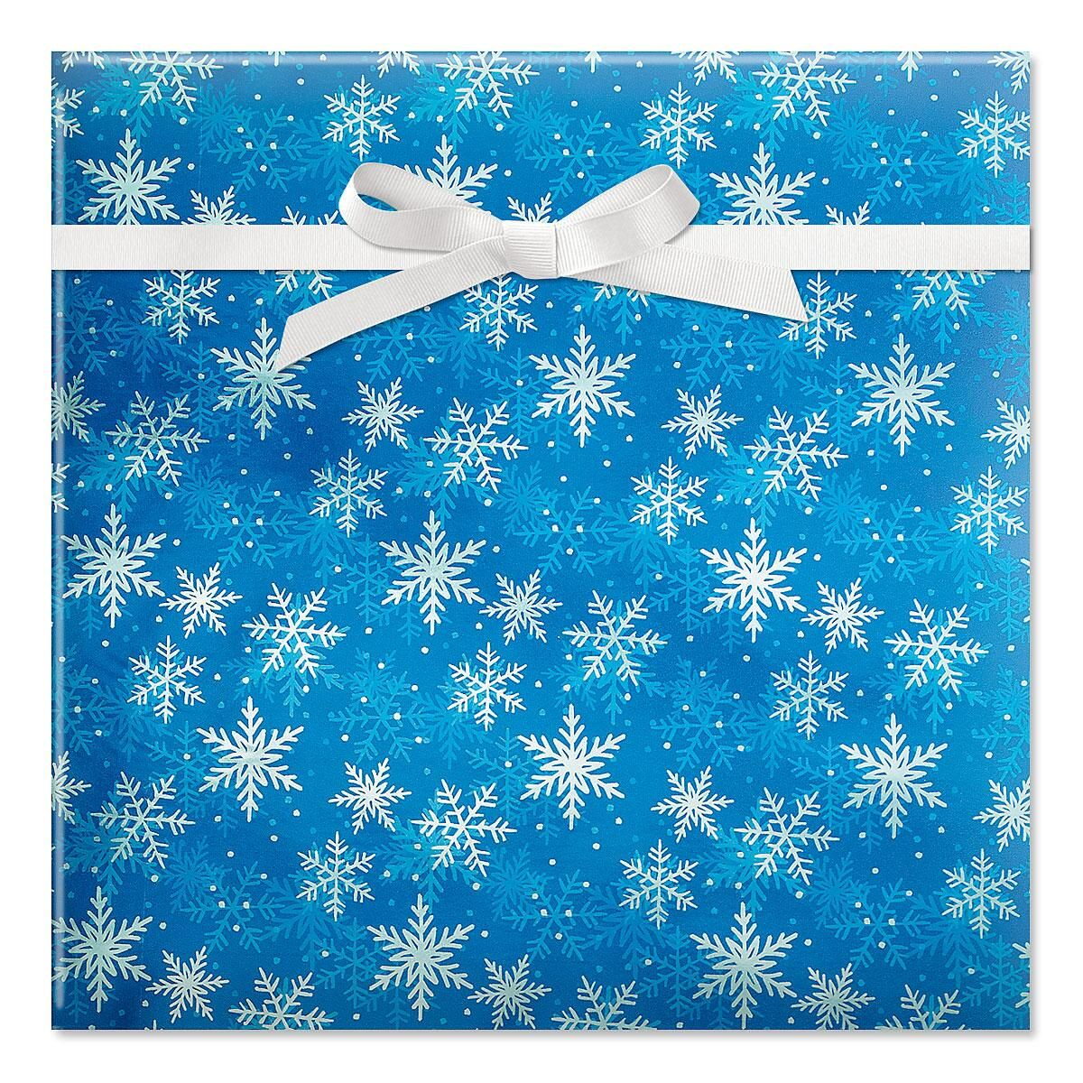 Shimmer Flakes On Blue Foil Rolled Gift Wrap Current Catalog
