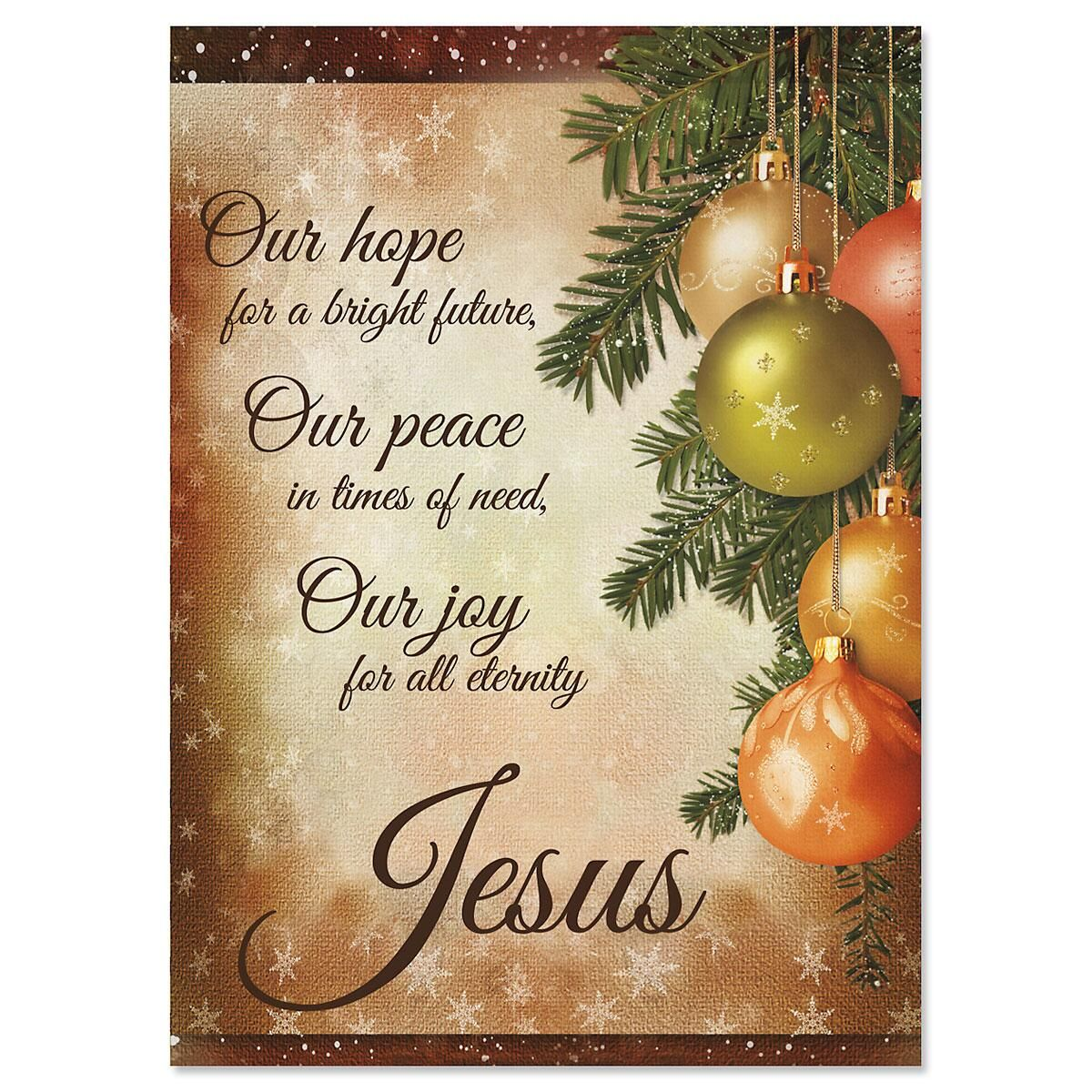 Pine Ornaments Religious Christmas Cards Current Catalog
