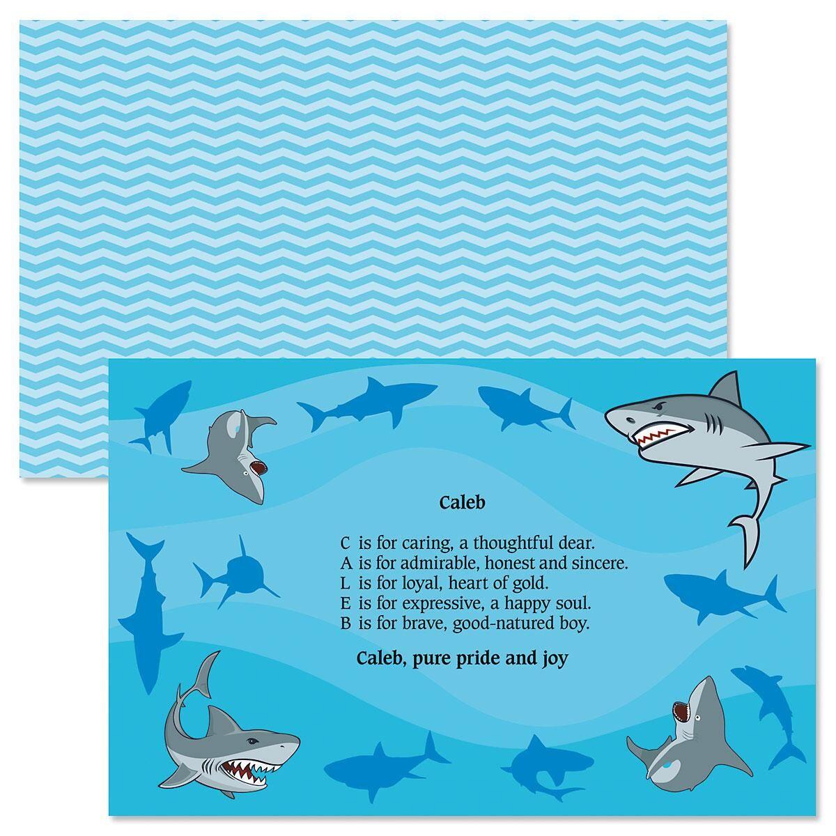 Sharks Name Poem Kids Placemats