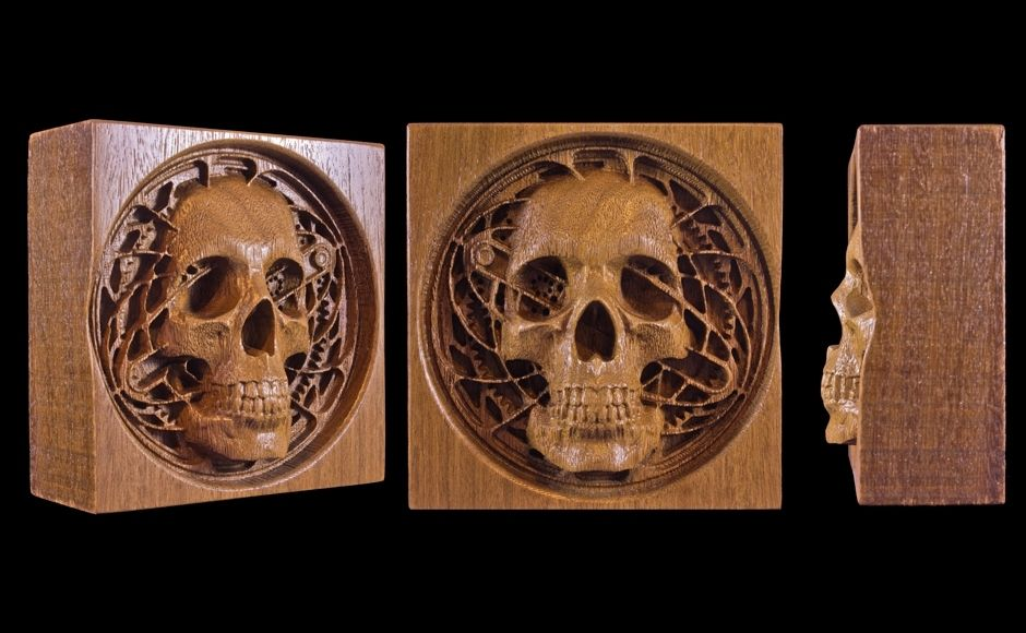 Custom Steam Punk Skull Carving By Windwood Designs