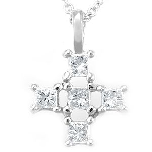 Buy A Hand Crafted Princess Cut Diamond Cross Pendant In