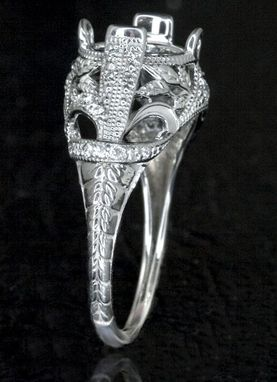 Hand Crafted Vintage Art Deco Semi Mount Engagement Ring