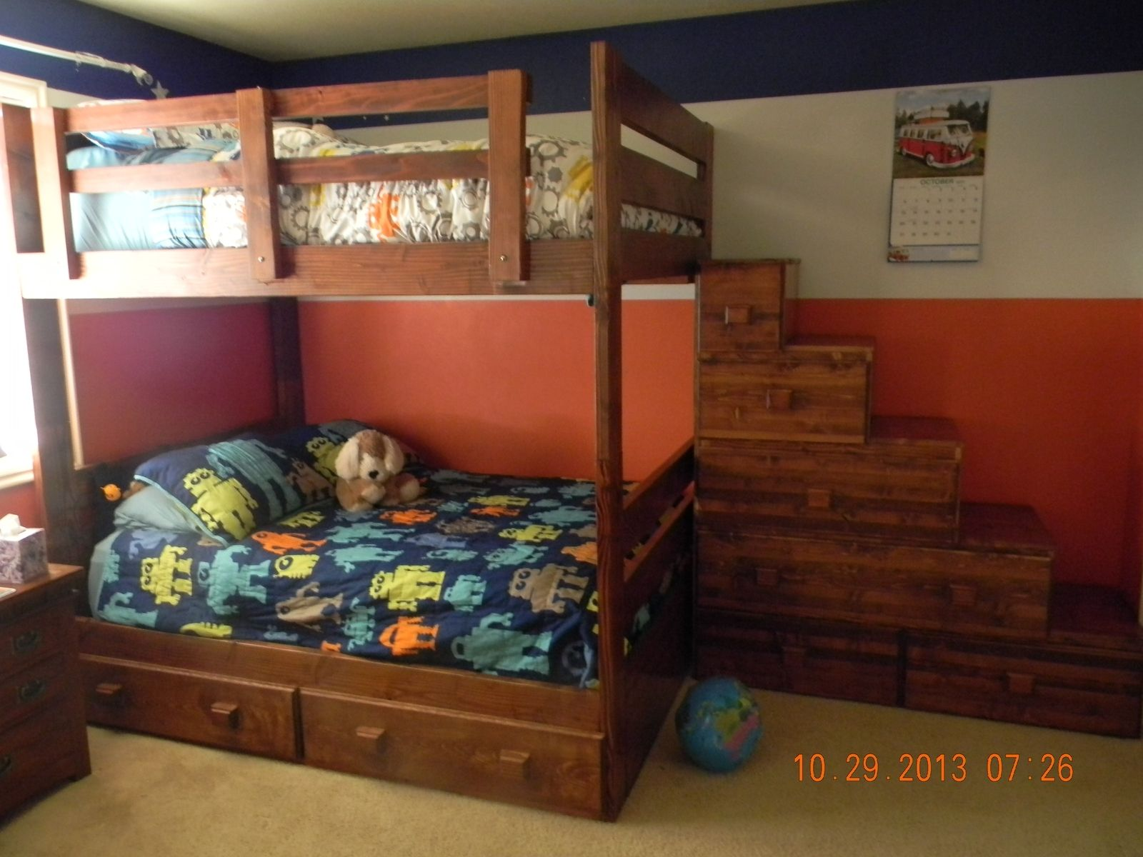 Custom Full Over Full Bunk Bed With Drawers And Stairs By