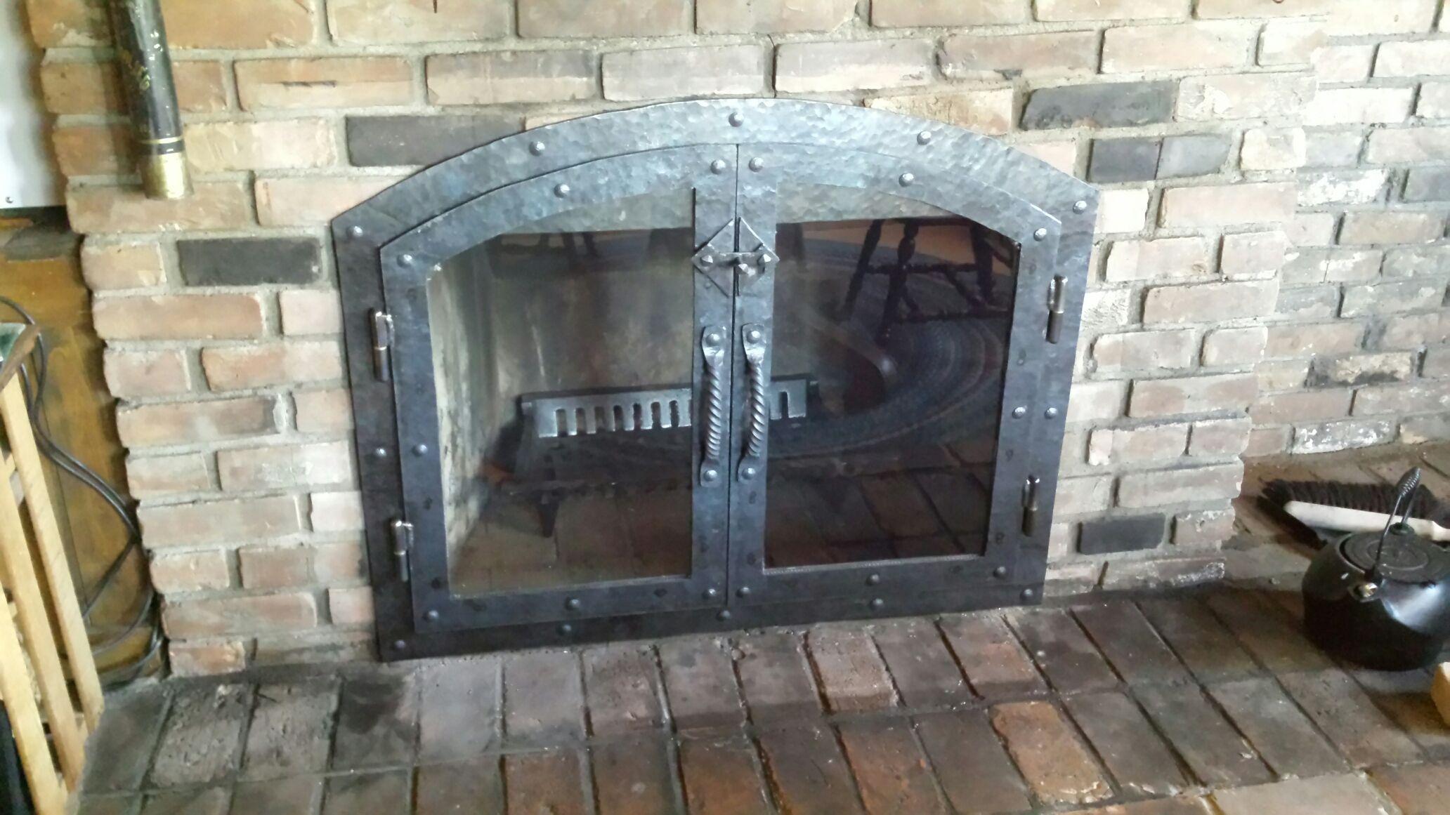 Handmade Custom Hammered Iron Fireplace Doors Fireplace
