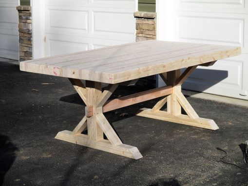 Hand Crafted Rustic Farmhouse Trestle Thick Butcher Block