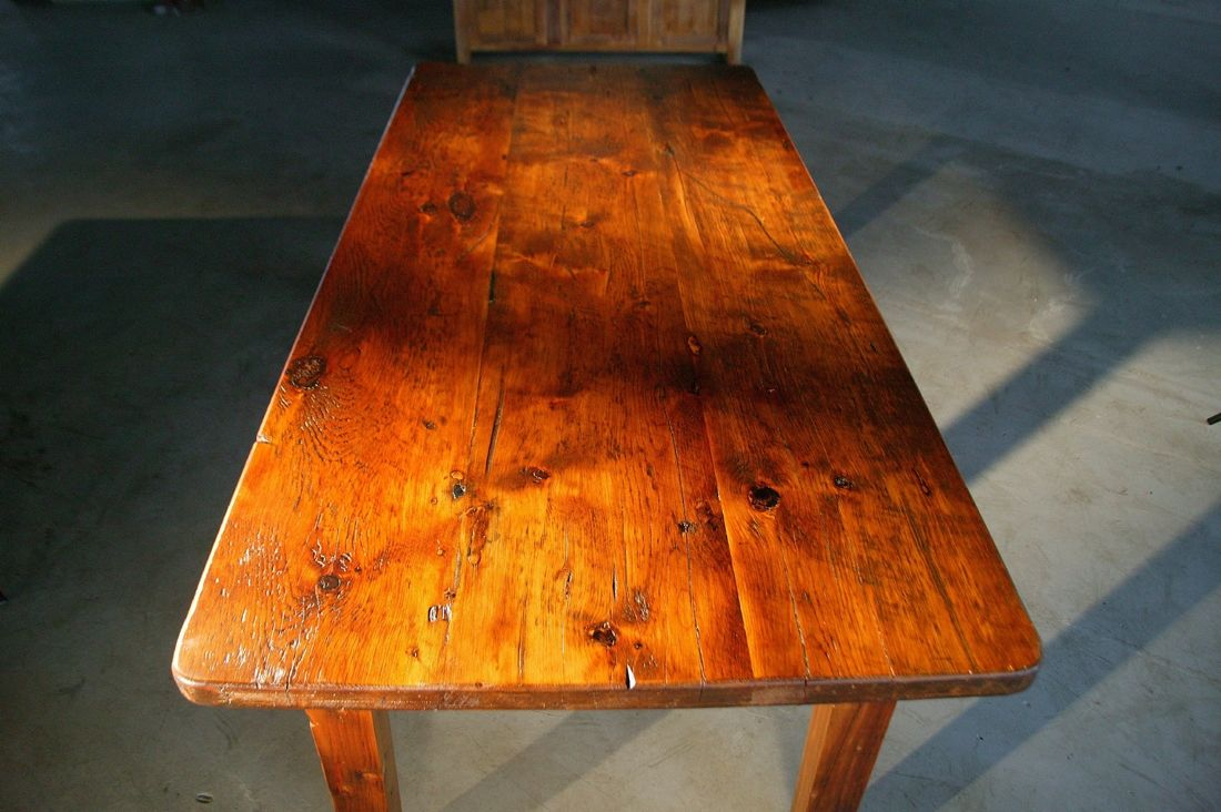 Hand Made Thick Top Farm Tables With Brown Cherry Finish