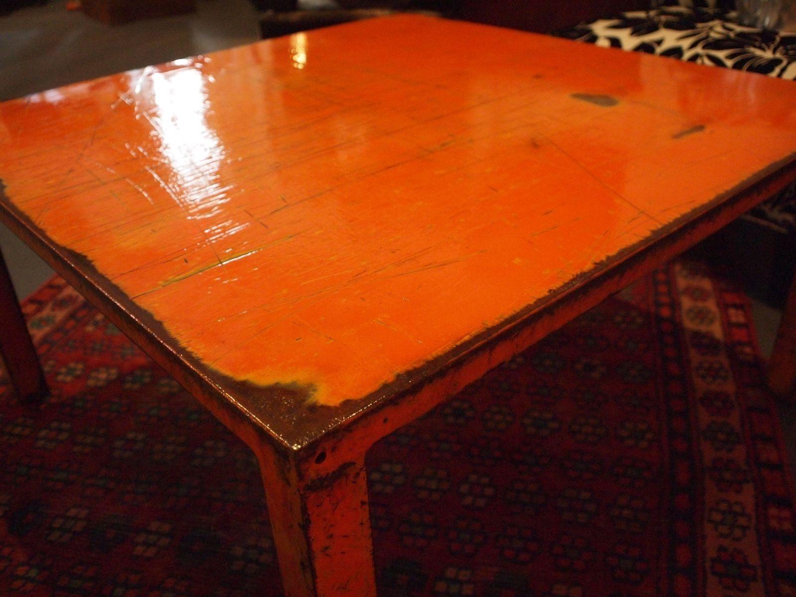 Custom 36 Square Deep Orange Steel Coffee Table By