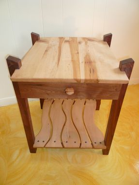 Hand Made Black Walnut Amp Maple End Table W Drawer By