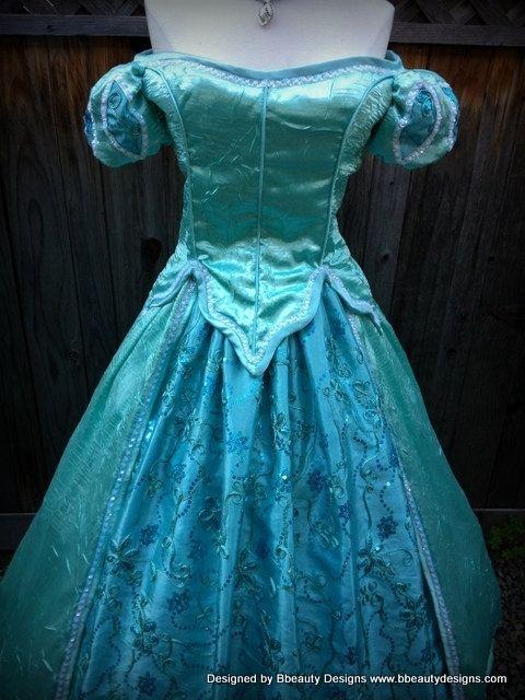Custom Ariel Mermaid Aqua Sea Foam Park Inspired Dress