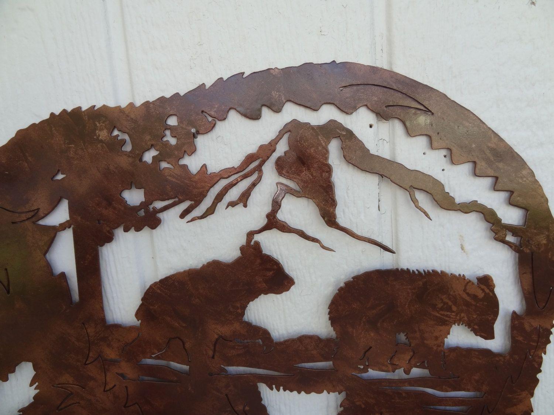 Buy A Custom Made Bear Mountain Scene With Bear Cub Metal