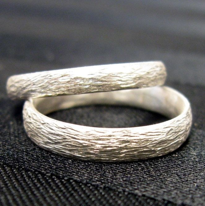 Custom Made Sterling Silver Hammered Texture Simple