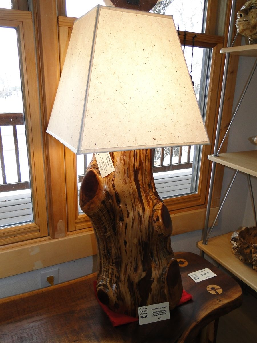 Hand Crafted Juniper Cedar Lamp With Handmade Natural