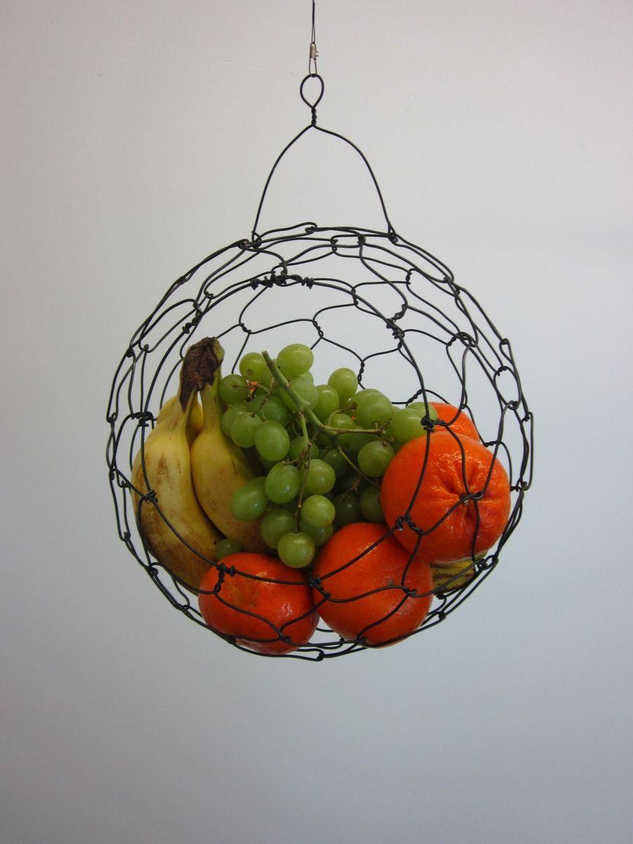 Custom Made Hanging Wire Fruit Basket By Chareststudios