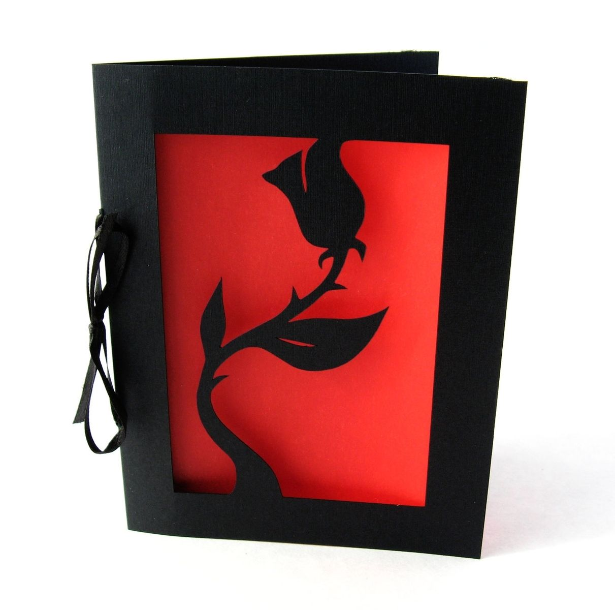 Buy A Hand Made Black Rose Valentine Cut Paper Silhouette