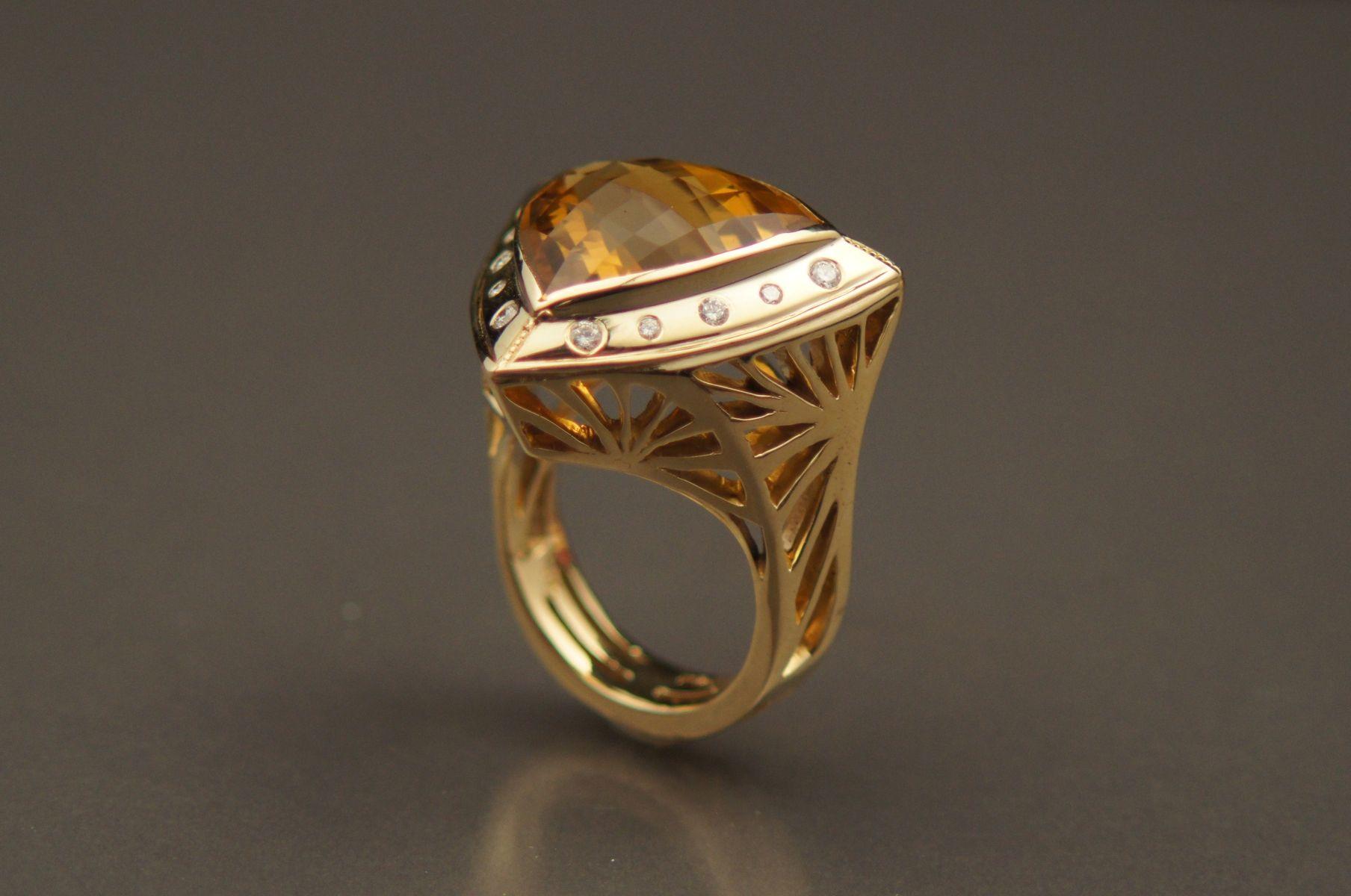 Buy A Custom Citrine Diamond Ring In 14kt Yellow Gold