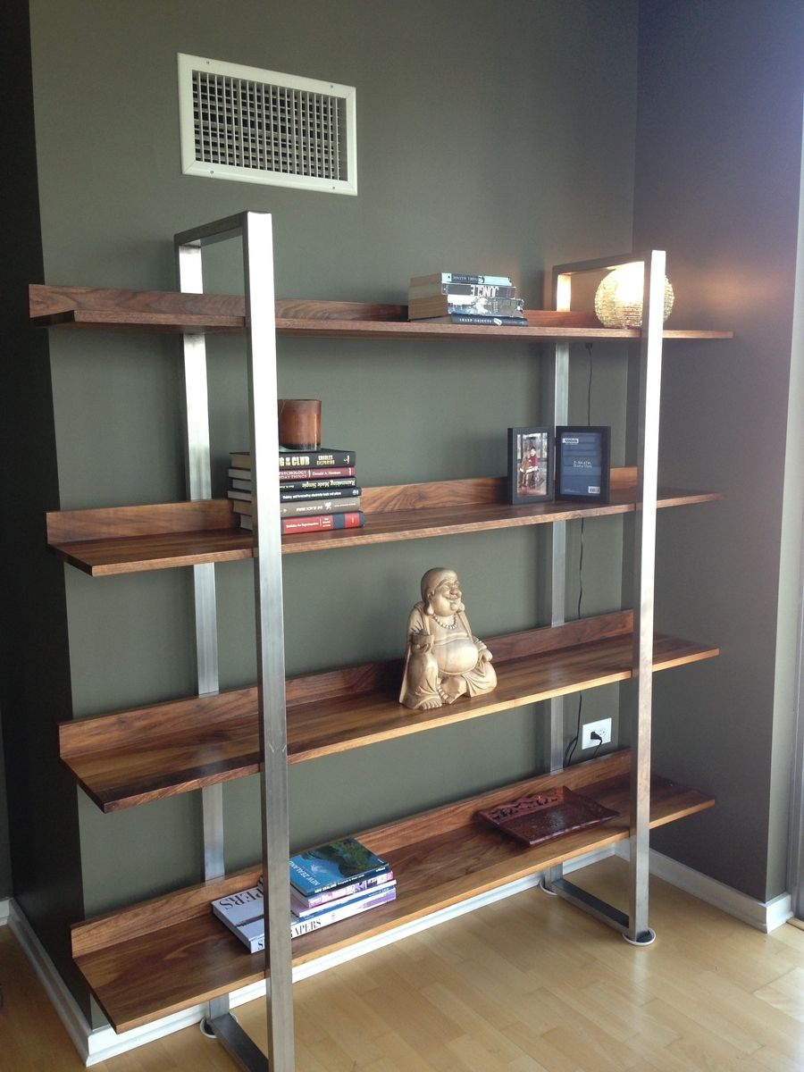 Hand Made Walnut Stainless Steel Modern Bookcase By
