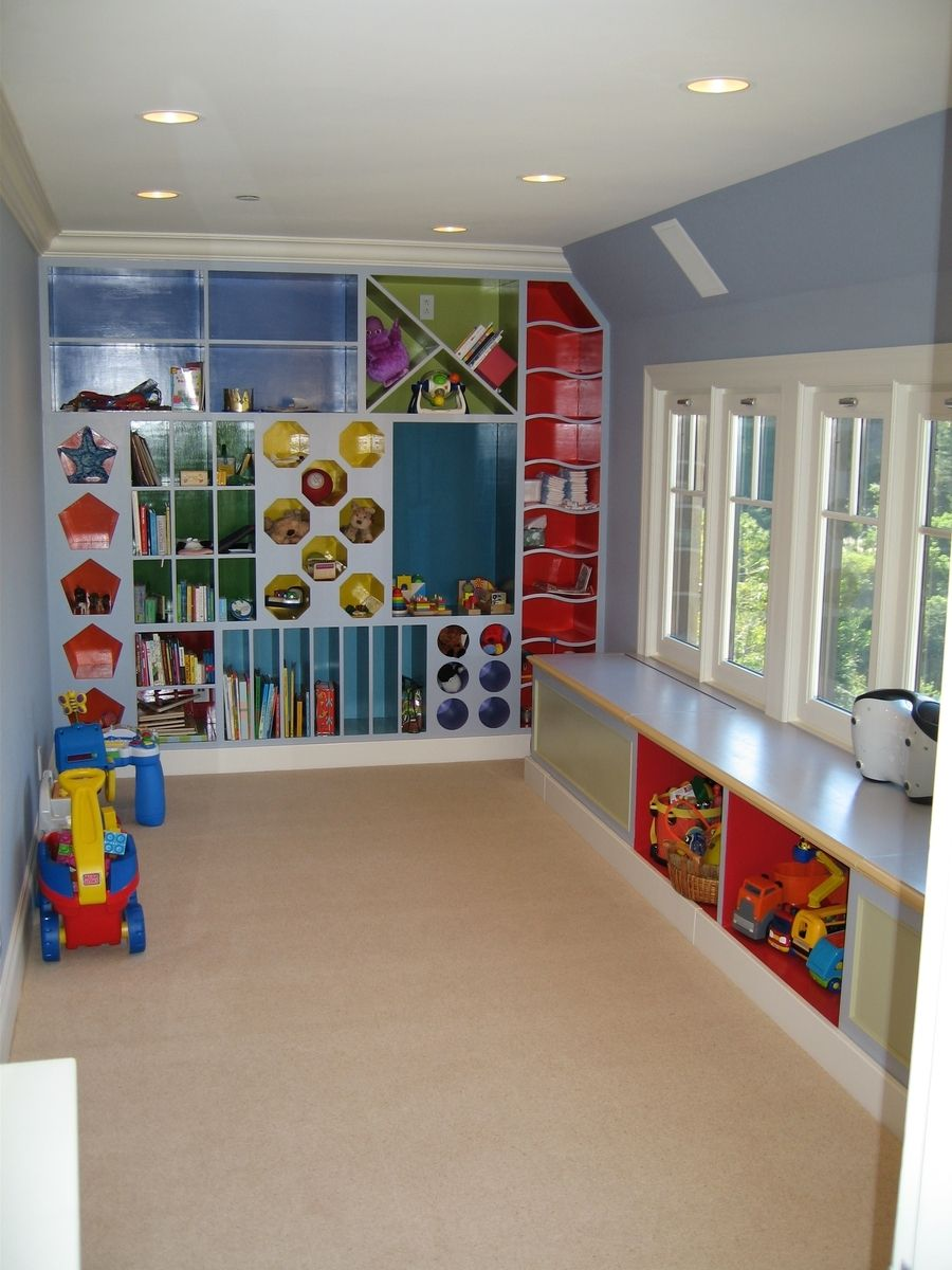 Custom Playroom Storage Cubbies By Clay Baker Design LLC