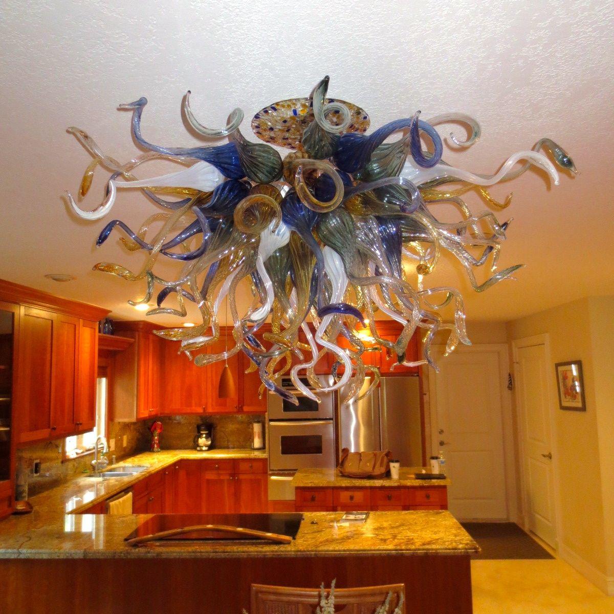 hand made hand blown glass chandelier