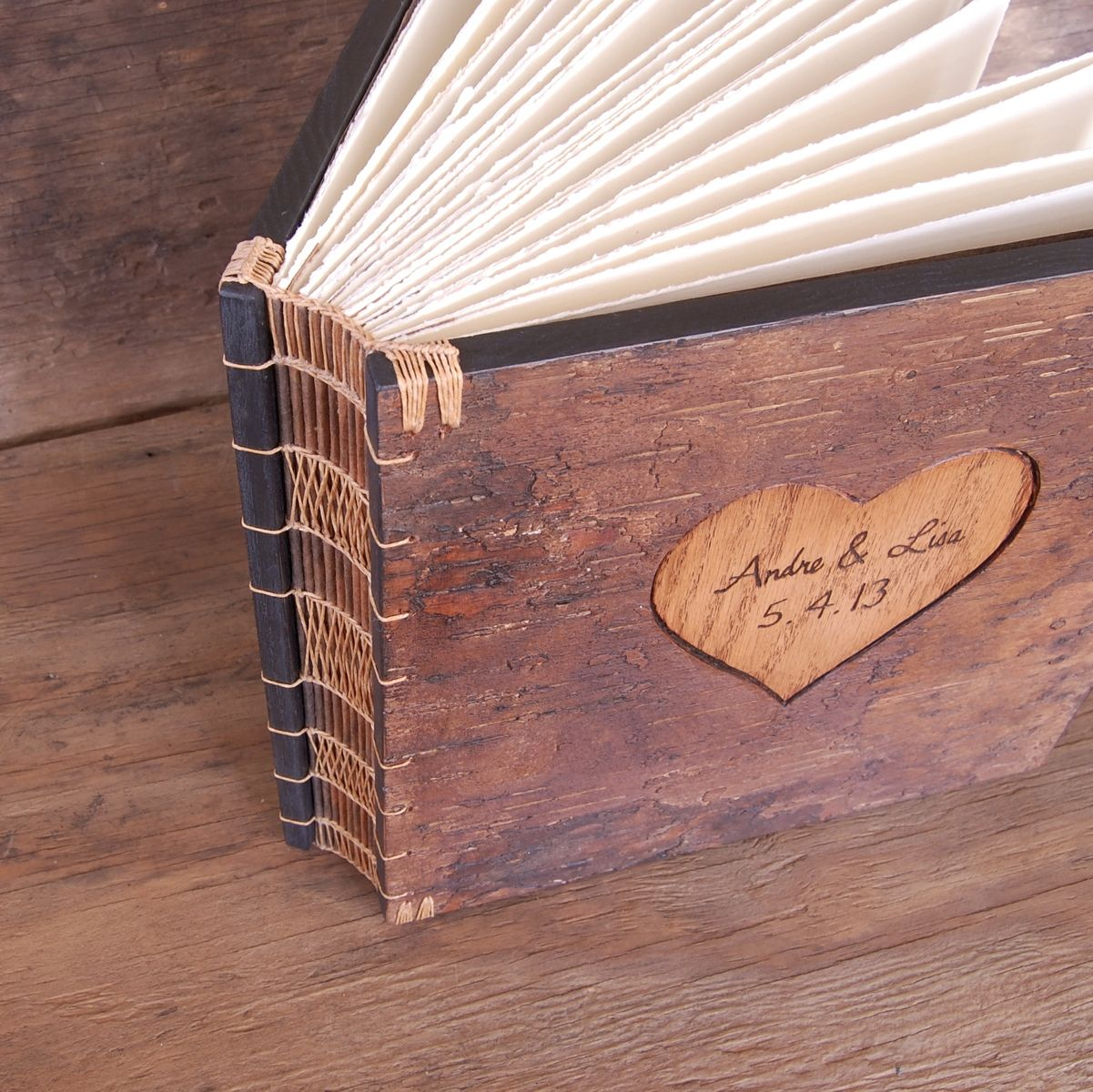 Custom Rustic Guest Book With Carved Tree Bark Covers By