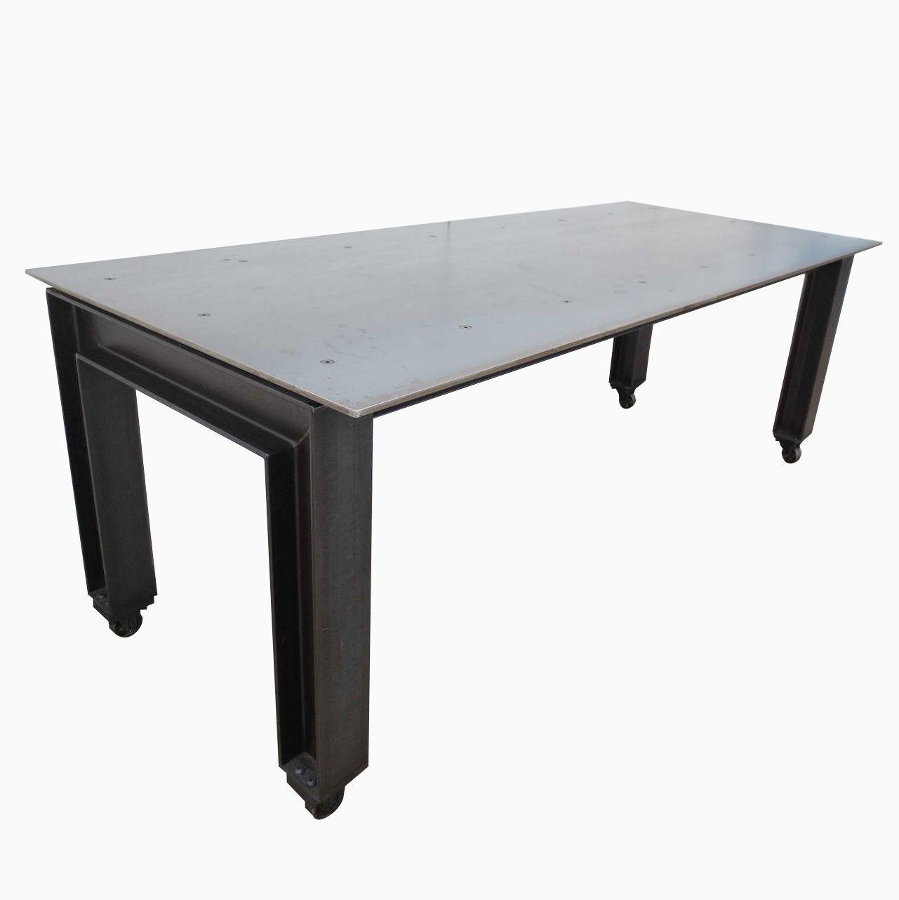 Hand Made Metal Industrial Modern Plate Steel Table By