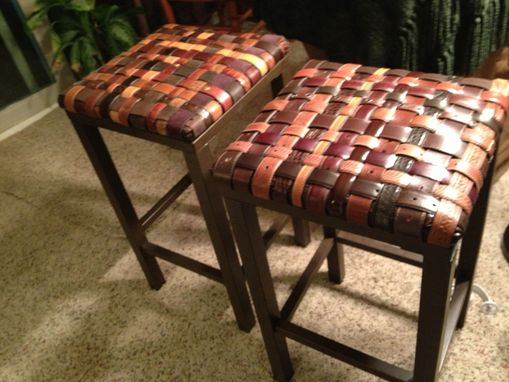 Hand Crafted Custom Backless Barstools With Woven Recycled