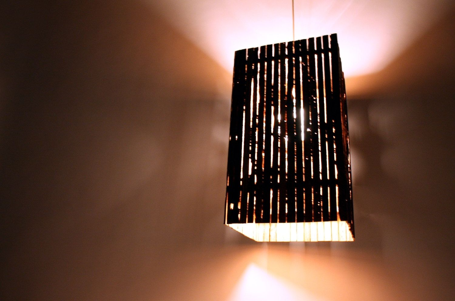 Hand Made Lath Pendant Lamp Reclaimed Barn Wood By MFEO