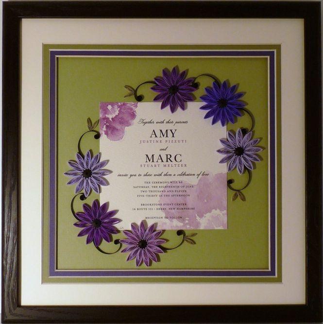 Vera Engraved Pearl Stripe Framed Wedding Invitation Sample