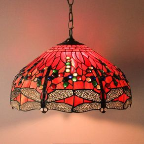 19 Dragonfly Tiffany Style Stained Glass Lamp Shade Hanging Handcrafted By Luis Lepe