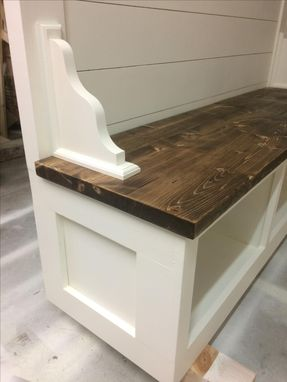 Hand Crafted Farmhouse Shiplap Cubby Bench By The Awesome