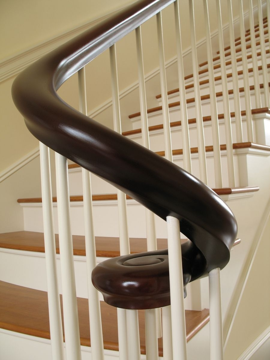 Hand Made Mahogany Continuous Shaped Curved Hand Rail By | Mahogany Handrails For Stairs