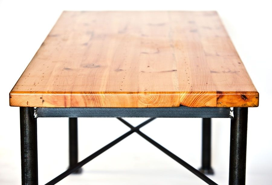 Custom Made Metal And Reclaimed Wood Dining Table By