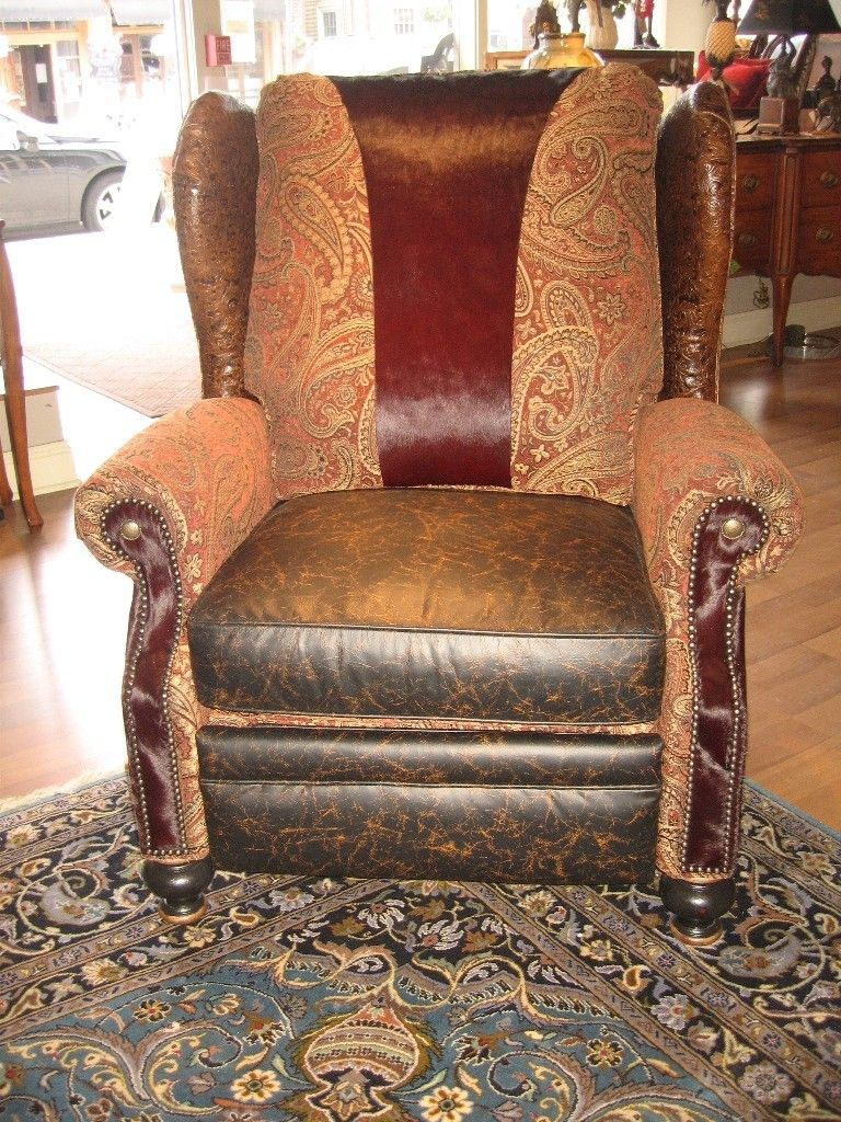 Handmade Unique Furniture Recliner With Tooled Leather And Burgundy Hair On Hide Accents By Ttt