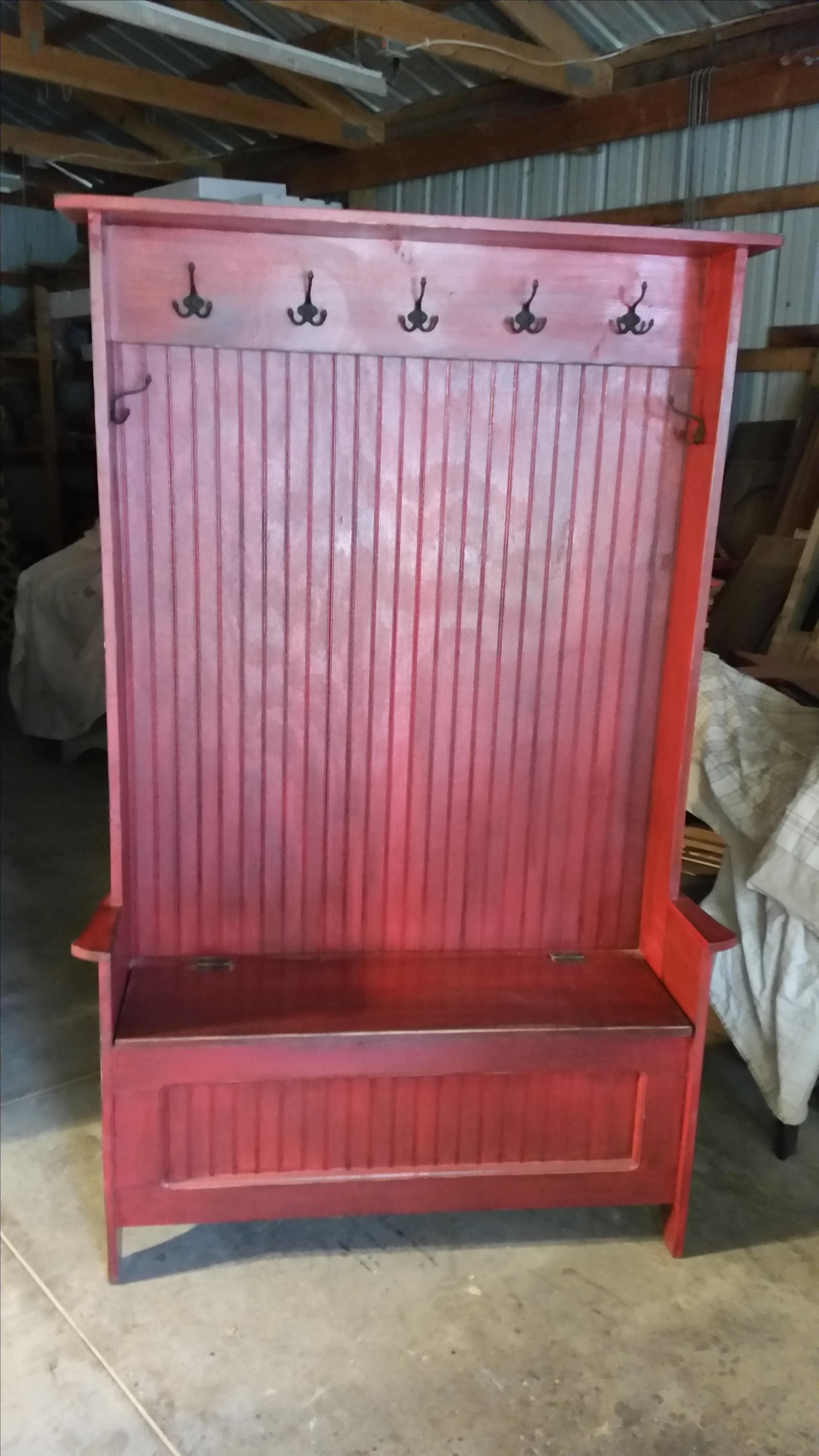 Hand Made High Back Hall TreeMudroom Bench By Primitive