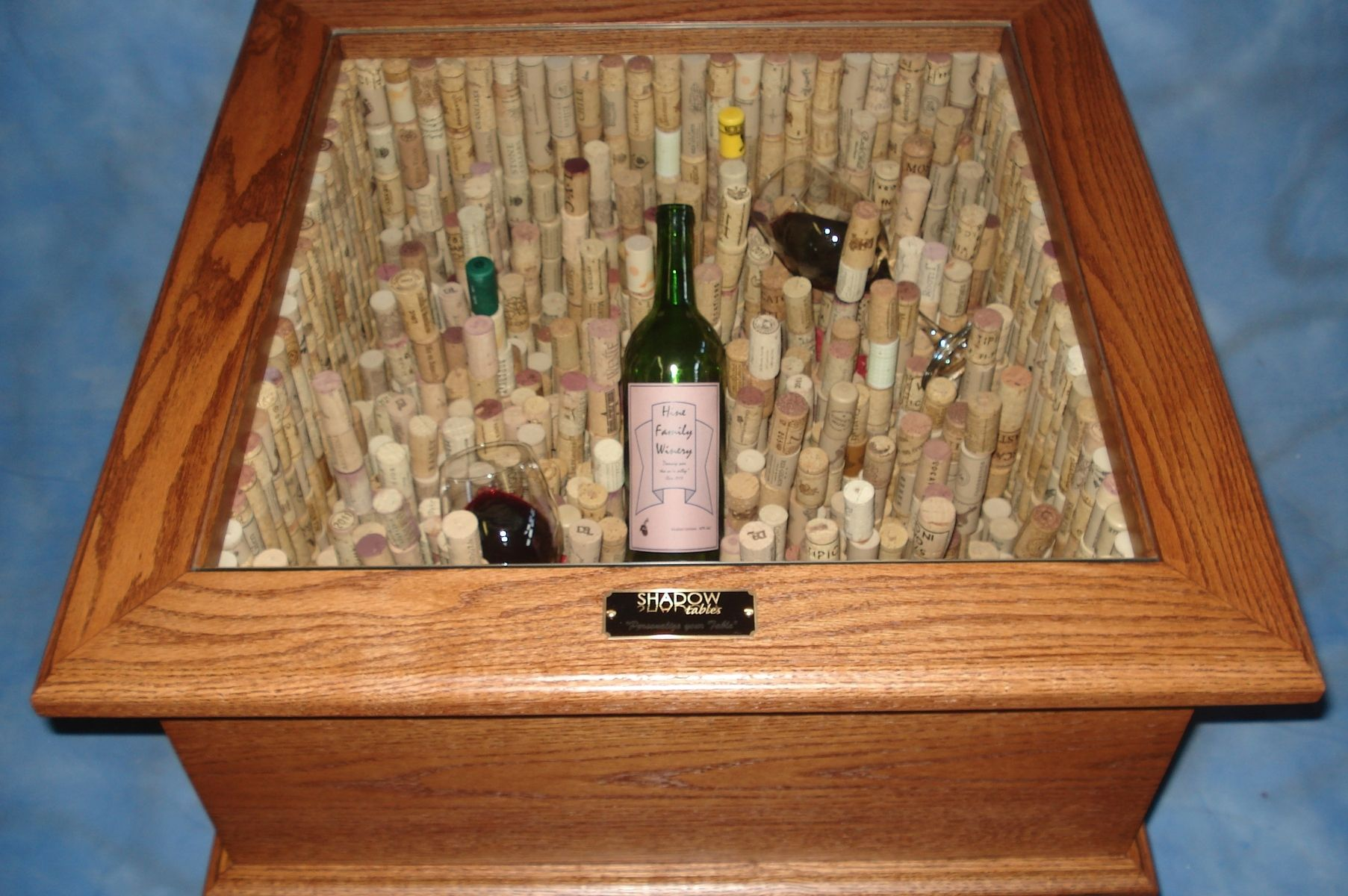"""Hand Made """"Taste The Wine"""" Led End Table With 1,300 Corks"""